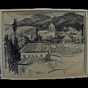 Crayon drawing of European village set in mountains