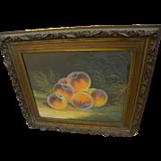 JOHN S. BOWER (19th century American art) pastel still life painting of fruit in a ...