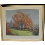HERMON ATKINS MacNEIL (1866-1947) beautiful pastel landscape by National Academician famous Am
