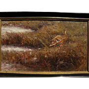 S. SCOTT ZUCKERMAN (1951-) oil painting of duck in autumn grass by noted American wildlife and