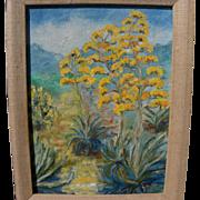 California plein air art desert landscape painting of flowering agave