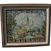 New Orleans art mixed media painting of Saint Louis Cathedral by noted Kansas City artist MODE