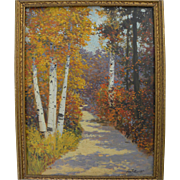 GEORGE FOREST PAYNE (20TH century American) beautiful high autumn impressionist landscape pain