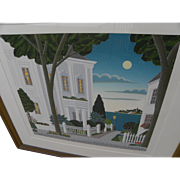 THOMAS MCKNIGHT (1941-) limited edition serigraph print of fantasy landscape by the noted Amer