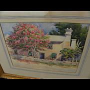 Bermuda art vintage old watercolor painting of house amidst flowering trees signed Charles G.