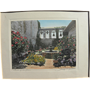California memorabilia hand tinted pencil signed vintage photo of San Juan Capistrano mission