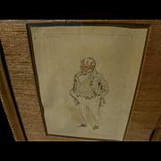 "JOSEPH CLAYTON CLARKE (""Kyd"") 1857-1937 original watercolor and ink drawing of Dicke"