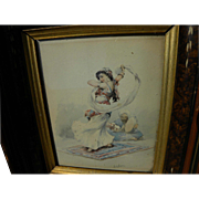 SOLD LOUIS SAPHIER (1877-1954) antique watercolor painting of Middle Eastern dancer by noted N