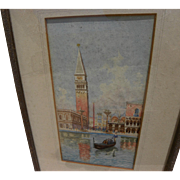 Signed vintage Venice watercolor painting