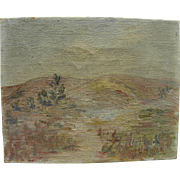 California plein air art signed 1930 impressionist painting of the Chino Hills east of Los ...