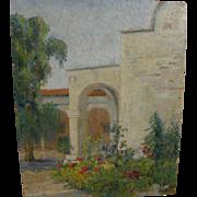 Vintage California art plein air painting of Pomona College, Claremont