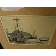 MORGAN DENNIS (1892-1960) original pencil signed Provincetown etching by artist illustrator we