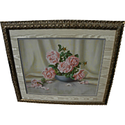 EUGENIA GRANT (1894-1978) amazing pastel still life drawing by listed California artist