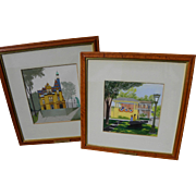HELEN FEDERICO (1921-2012) **pair** gouache paintings of upstate New York State landmarks by n