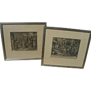 JOHANNES STRADANUS (1523-1605) **pair** copper engravings by noted early Flemish graphic artis