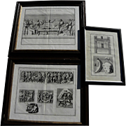 Three framed antique 17th century engravings by Italian artist PIETRO SANTI BARTOLI (1635-1700