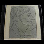JOACHIM RINGELNATZ (1883-1934) self portrait pencil drawing by important German artist and aut