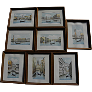 Eight Venice Italy contemporary watercolor paintings of famous sights