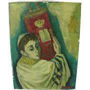 MAX BAND (1900-1974) Judaica painting of Jewish boy holding Torah by School of Paris well list
