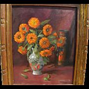 MARTIN DUMLER (1868-1958) floral tabletop still life by listed Cincinnati Ohio artist
