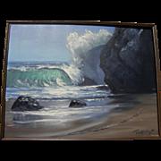 VIOLET PARKHURST (1921-2008) impressionist coastal seascape painting by popular California art