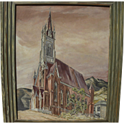 WILLIAM ROSS SHATTUCK (1895-1962) painting of St. Mary in the Mountains Catholic Church Virgin