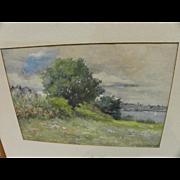 HARRIET WINSLOW HAYDEN (1840-1926) old watercolor painting likely Massachusetts landscape