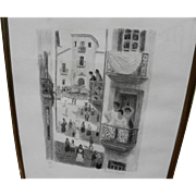 FRANCIS SMITH (1881-1961) pencil signed limited edition lithograph of Portuguese street scene