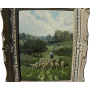 CHARLES T. PHELAN (1840-) American art impressionist painting of sheep in a meadow by listed .