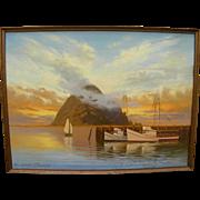 MARJORIE SHARPE (20th century California) plein air luminous painting of sunset over Morro Bay