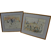 DAVID ROSE (1910-2006) **pair** original drawings of John DeLorean and Wayne Williams trials b
