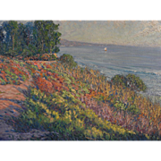 GARY RAY (1952-) impressionist plein air coastal landscape painting by well known contemporary