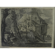 After ROELANT SAVERY (1576-1639) Old Master engraving by Aegidius Sadeler (1570-1629)