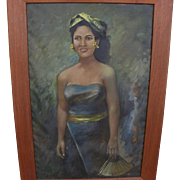 Vintage Filipino or Indonesian painting of young woman with fan