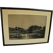 """SOLD CHARLES DAUBIGNY (1817-1878) engraving """"Solitude"""" by the noted French Barbizon"""