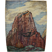 ADELE WATSON (1873-1947) painting of Zion National Park Utah by noted California modernist art