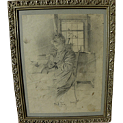 CHARLES A. FRIES (1854-1940) early pencil drawing of his aunt Maude by the noted ...