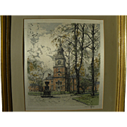 HANS FIGURA (1898-1978) Independence Hall pencil signed print on silk by the noted Austrian ..