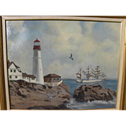 Marine painting of coastal lighthouse and Portuguese tall ship signed by gallery artist CRAIG