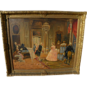"GIOVANNI PANZA (1894-1989) painting of 18th century salon scene ""The Reception"" by f"