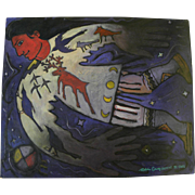 Santa Fe Style whimsical contemporary painting of a Native American by contemporary artist ...