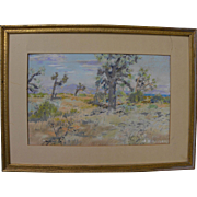 California plein air art impressionist 1940 pastel drawing of joshua trees in a high desert la