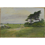 SOLD FRANK CRESSON SCHELL (1857-1942) early watercolor painting of landscape in Southern New J