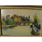 FERNAND GUIGNIER (1902-1972) watercolor painting of the Seine River and Notre Dame in Paris by