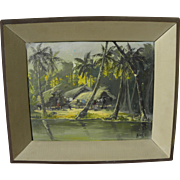 Brazilian art tropical painting of huts under the palms circa 1960's