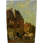 Dutch 19th century painting after famed cityscape artist Cornelis Springer
