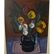 SALE PENDING AXEL EKELUND (1919-) modernist still life painting by listed Swedish artist