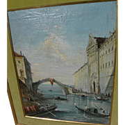 Antique painting of Venice Italy gondolas and architecture in the style of 18th century Old Ma