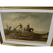 "HENRY GILBERT-JONES (1804-1888) early rare original watercolor painting ""Jackall Hunting"