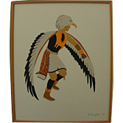 Southwest Native American Indian art original signed 1979 drawing of eagle dance